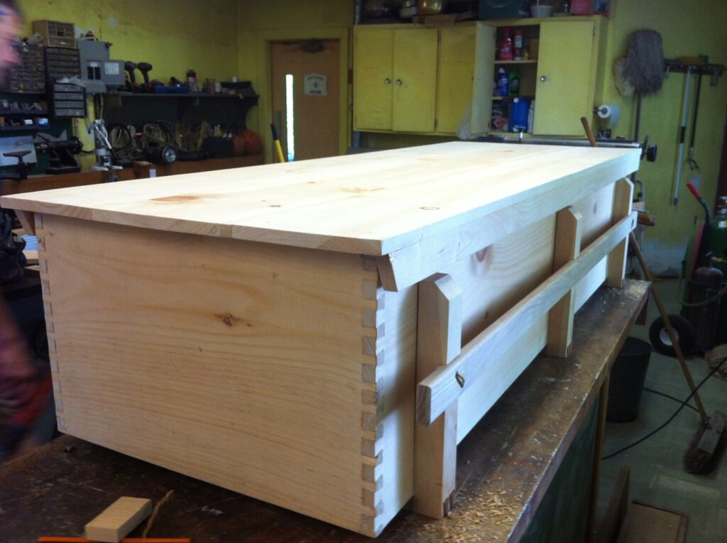 Coffin built by community volunteers